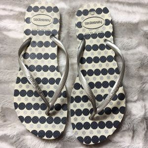 Havaianas blue and silver thong flip-flops…